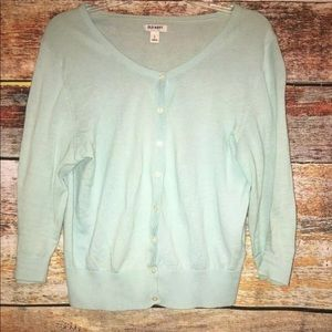 Old Navy Blue cropped Cardigan Sweater sz Large